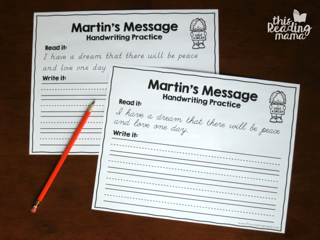 Martin Luther King, Jr. Handwriting Pages for D'Nealian and Cursive - free