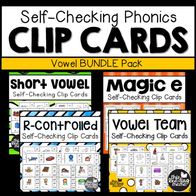 Self-Checking Phonics Clip Cards - Vowel Bundle Pack