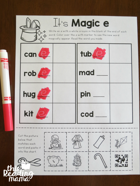 coloring with marker to reveal the magic e words