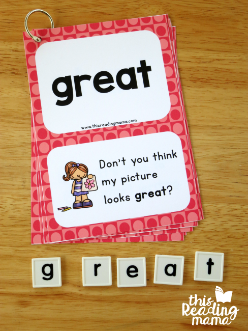 spelling sight words with letter tiles