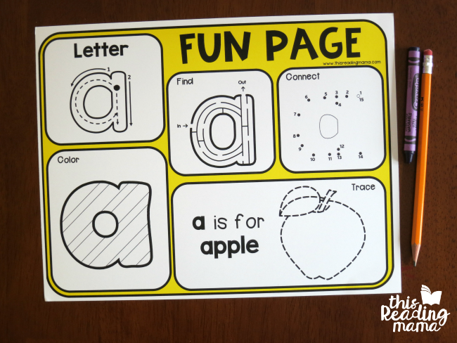 Alphabet Fun Page for Letter a - This Reading Mama
