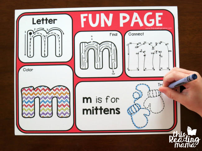 Alphabet Fun Page - letter m in action