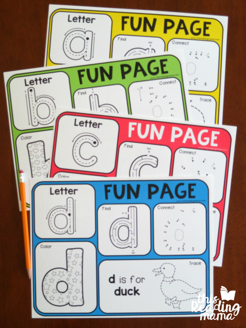Alphabet Fun Pages - examples from This Reading Mama