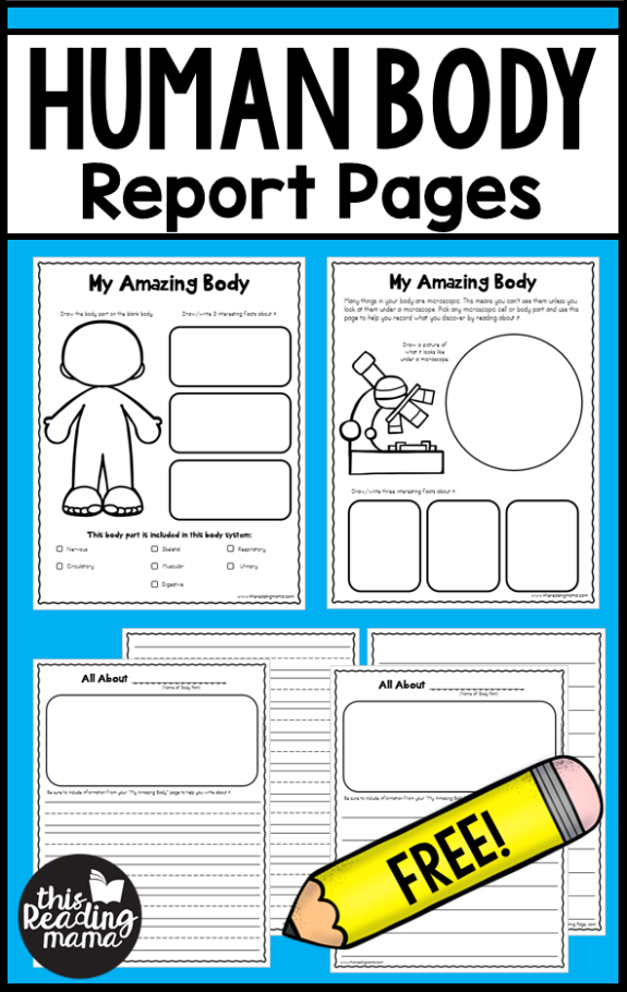 FREE Human Body Report Pages - This Reading Mama