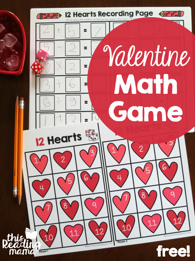 Valentine Math Facts Game - This Reading Mama