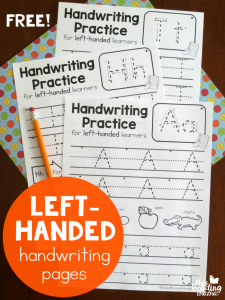 Left-Handed Handwriting Pages {7 free!}