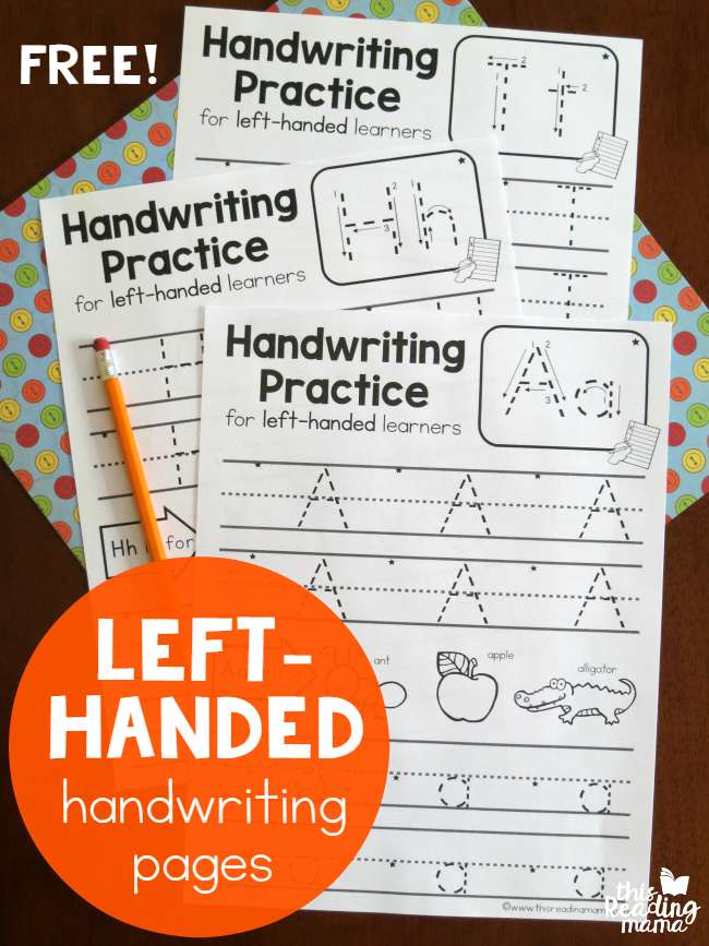 Left-Handed Handwriting Pages {7 Free!} - This Reading Mama