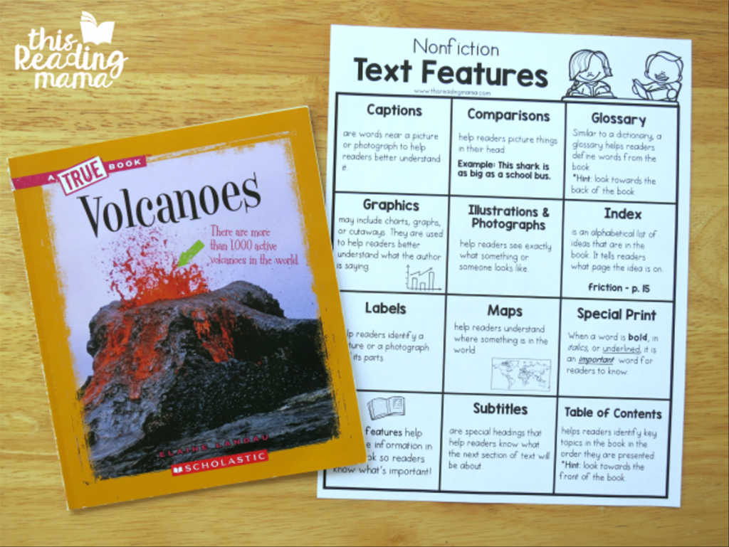 Nonfiction Text Features Charts - helping readers understand text features
