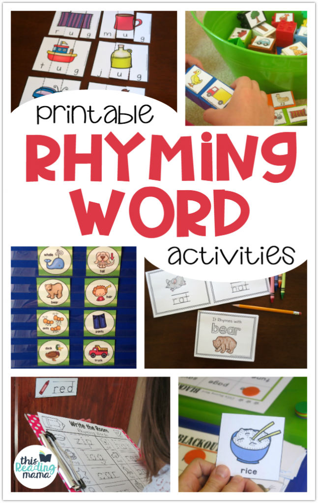 Printable Rhyming Activities for Kids - This Reading Mama