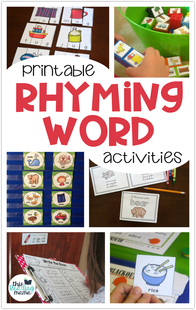 Printable Rhyming Word Activities This Reading Mam on writing printable kindergarten worksheets