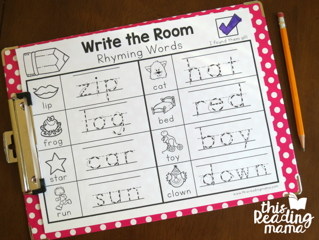 write the room rhyming words - color in the check when finished