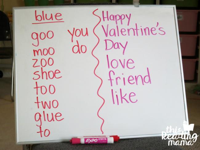 writing a list of words we use at Valentines Day