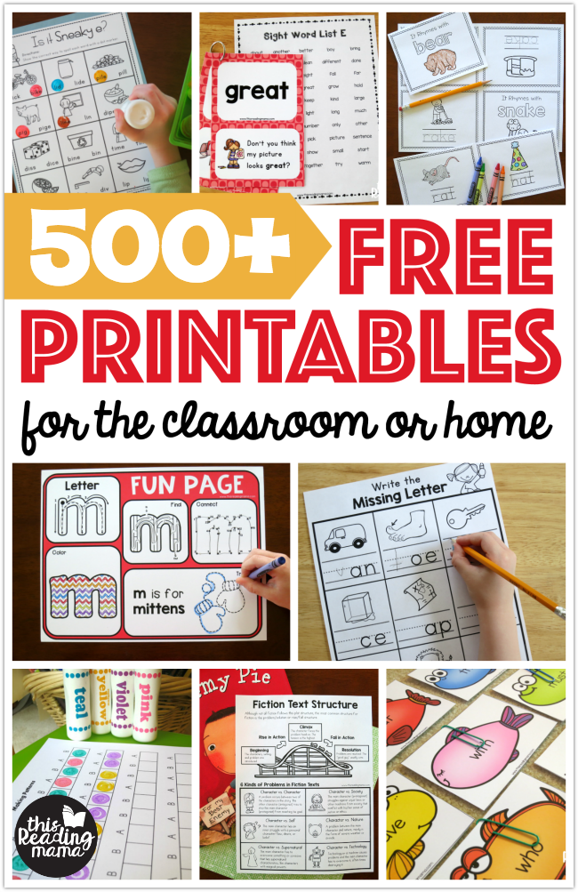 Free Printable Learning Activities - This Reading Mama