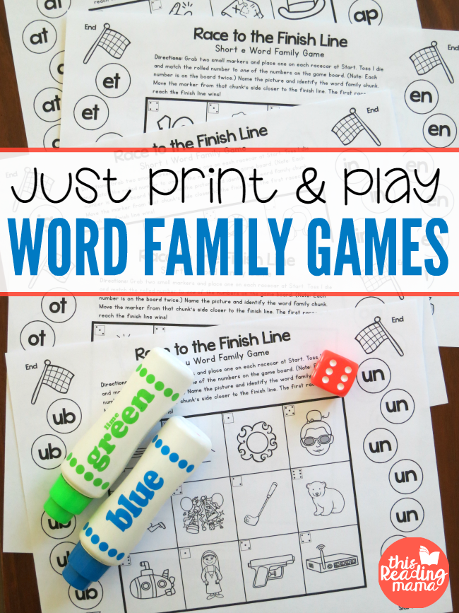 Just Print and Play Word Family Games - free - This Reading Mama