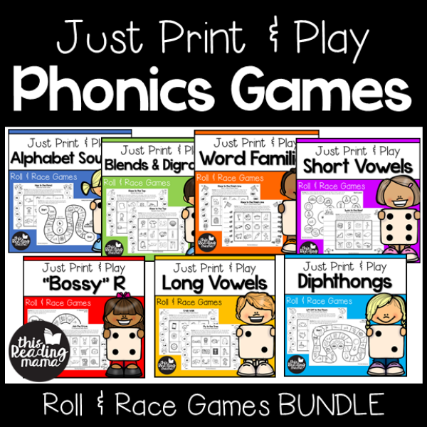 Print and Play Phonics Games Bundle Pack - This Reading Mama