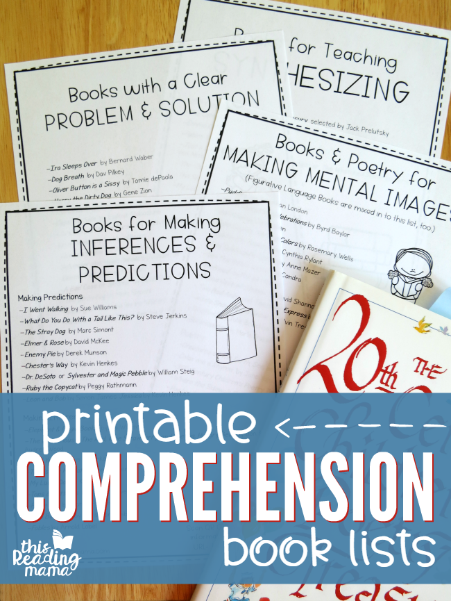 Printable Comprehension Book Lists - This Reading Mama