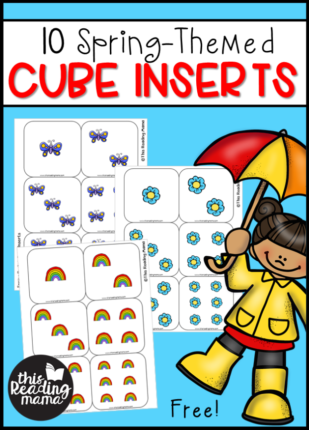 Spring Themed Pocket Cube Inserts {FREE} - This Reading Mama