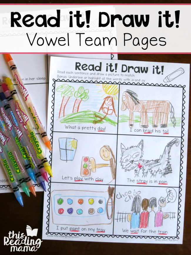 Vowel Team Read and Draw Pages ~ This Reading Mama