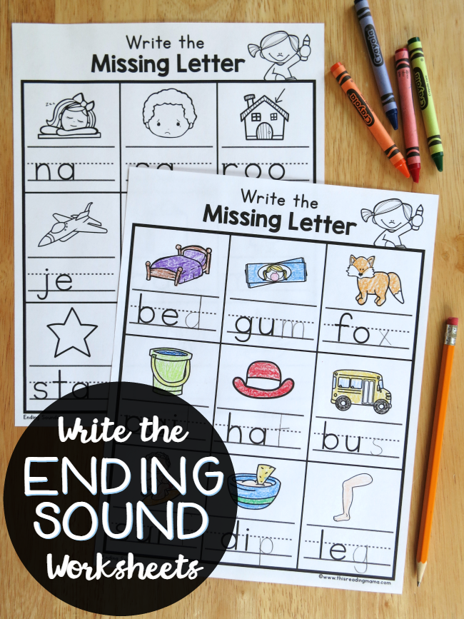 Write the Ending Sound Worksheets - This Reading Mama