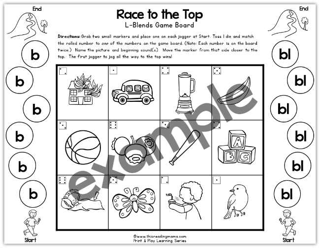 b and bl print and play game from Blends & Digraphs Games - This Reading Mama