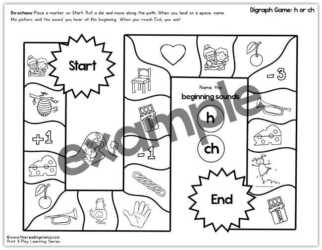 c and ch print and play game from Blends & Digraphs Games - This Reading Mama
