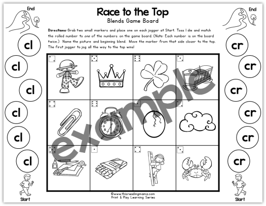 cl and cr blends and digraphs print and play game - This Reading Mama