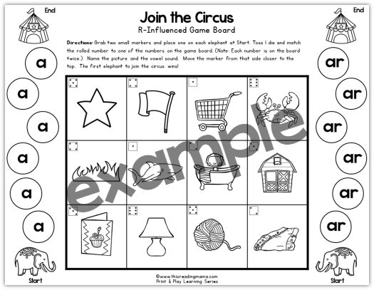 a and ar bossy r game example from This Reading Mama