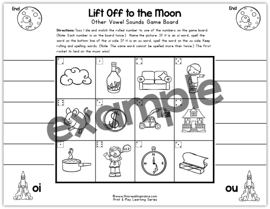 Diphthongs oi and ou name and spell game - This Reading Mama