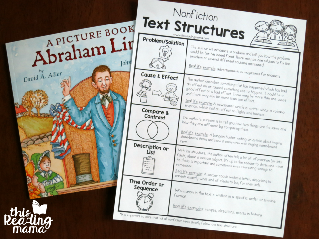 free nonfiction text structures chart with real life examples