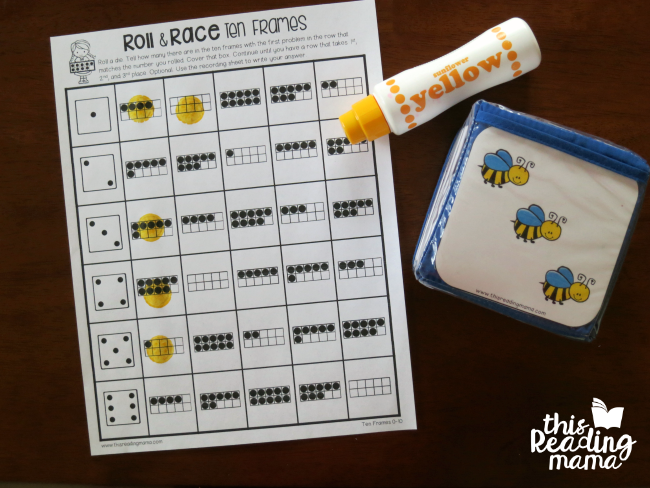 spring pocket chart inserts with roll and race math games