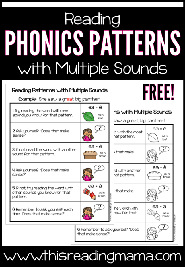 Reading Phonics Patterns with Multiple Sounds Chart - free from This Reading Mama