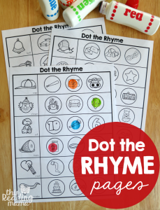 Rhyming Worksheets – Dot the Rhyme