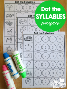 Syllables Worksheets – Dot the Syllables
