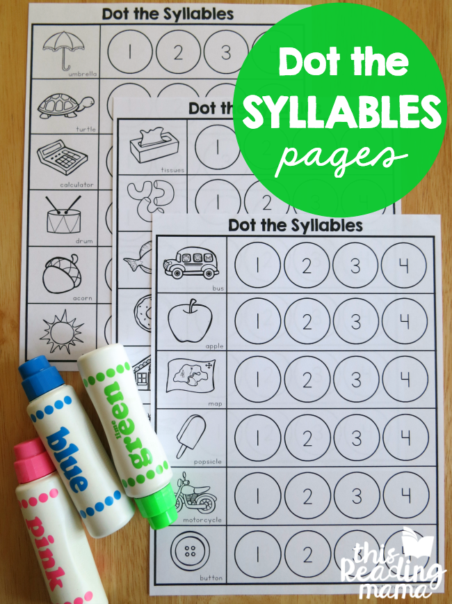 Syllables Worksheets Dot The Syllables This Reading Mama