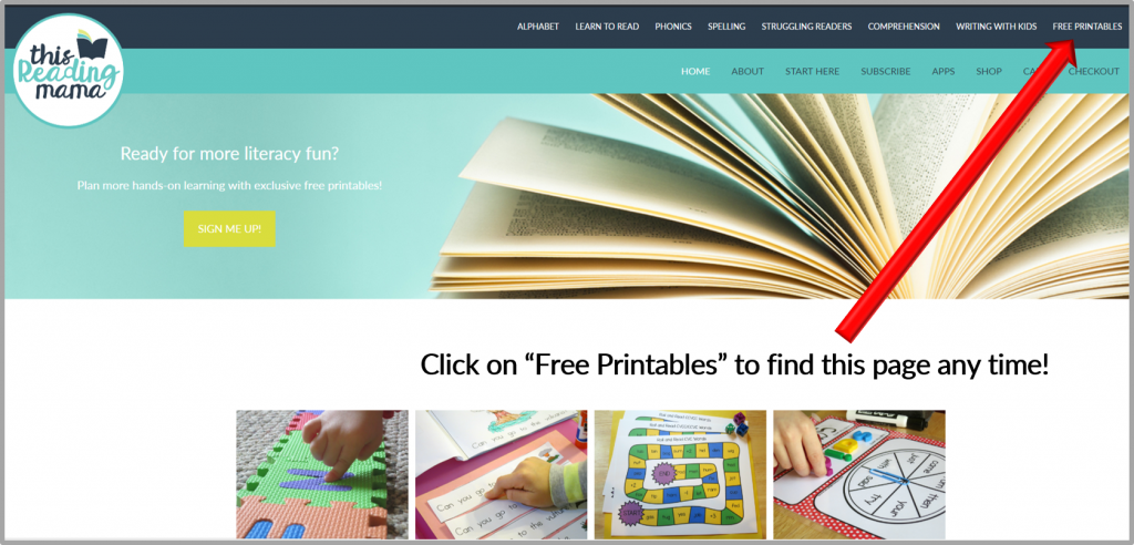"Click on ""Free Printables"" from my Home Screen"