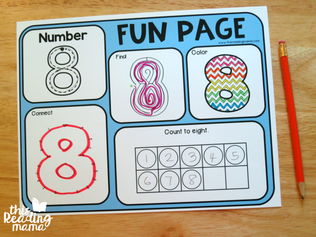number fun page for number 8