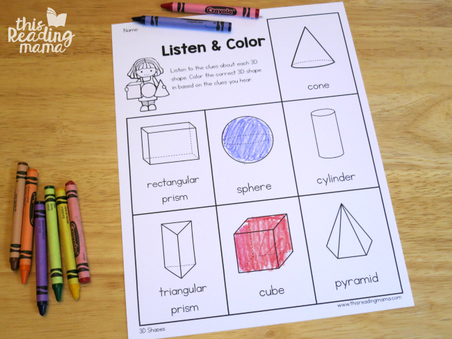 3D listen and color page for learner