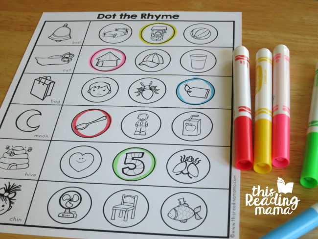 using marker with rhyming worksheets