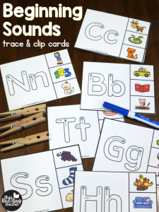 Beginning Sounds Clip Cards – Trace & Clip
