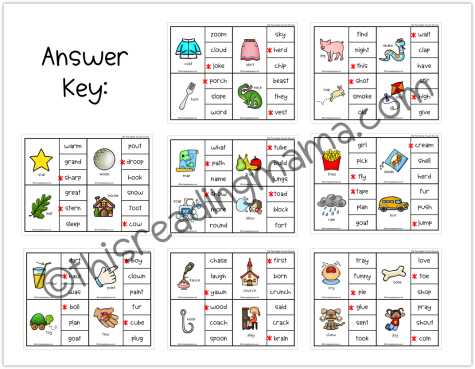 Clip the Same Vowel Sound Answer Key