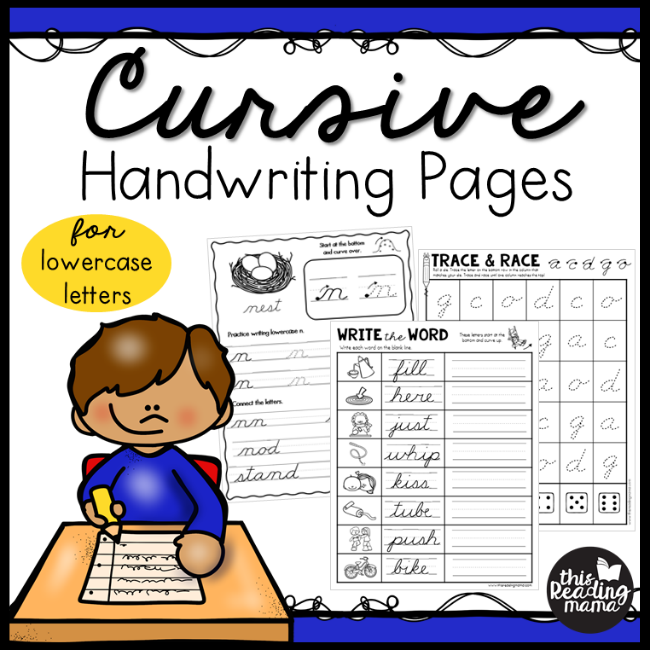Lowercase Cursive Handwriting Pages from This Reading Mama