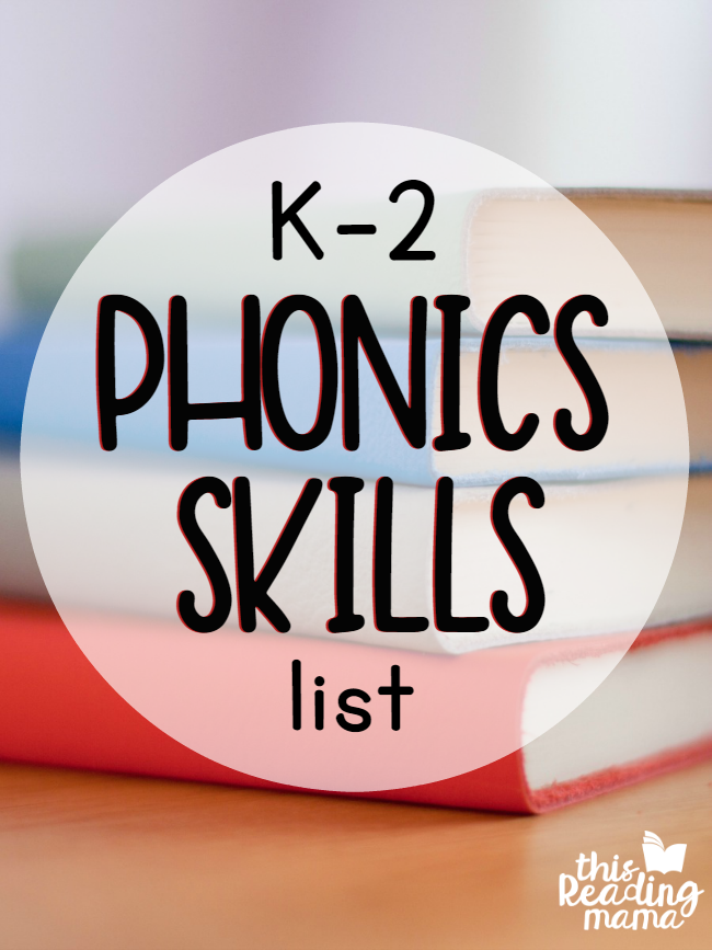 K-2 Phonics Skills List - get the cheat sheet! - This Reading Mama
