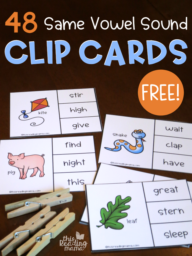 Same Vowel Sound Clip Cards - 48 free - This Reading Mama