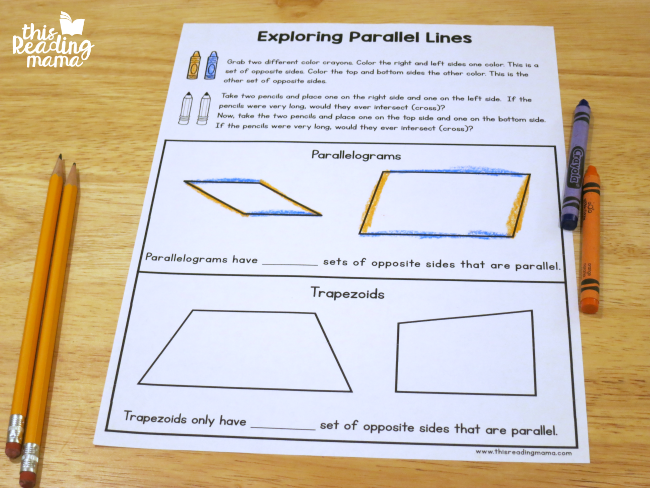hands-on way to explore parallel lines- parallelogram vs. trapezoid