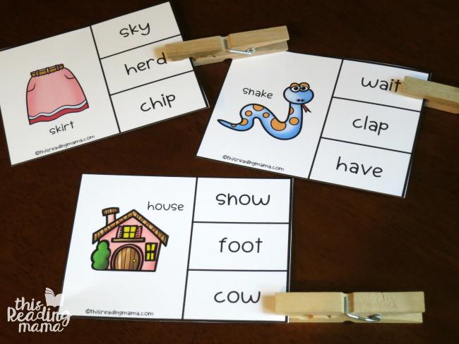 same vowel sound clip cards examples
