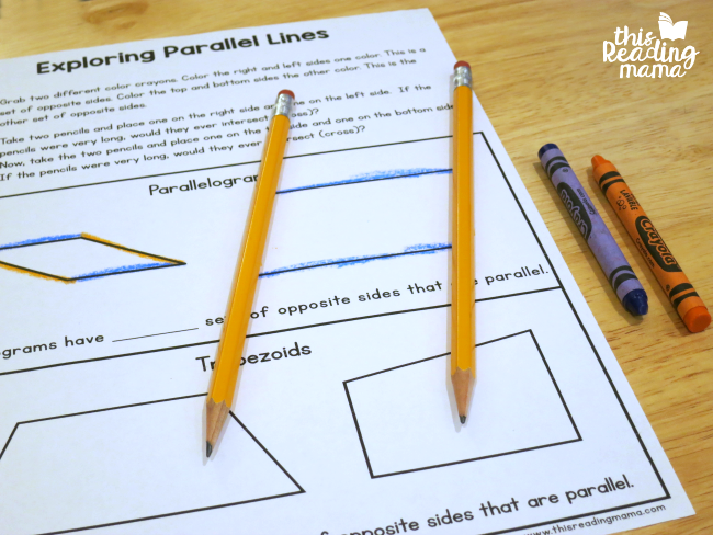 using pencils to learn about parallel lines