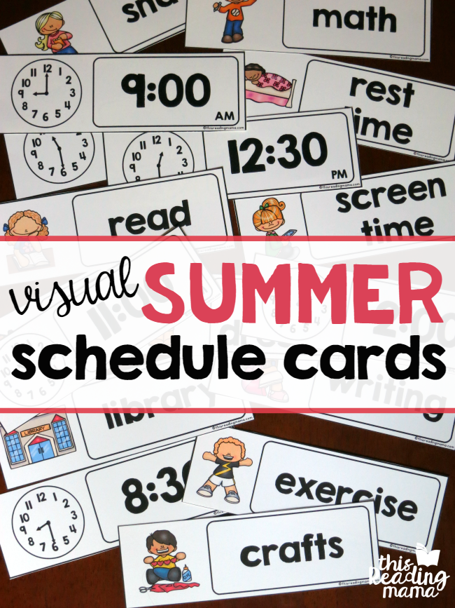 image about Printable Visual Schedule Pictures titled Visible Summer time Timetable Printable - This Reading through Mama