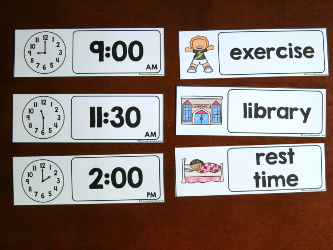 clock and activity cards for visual summer schedule