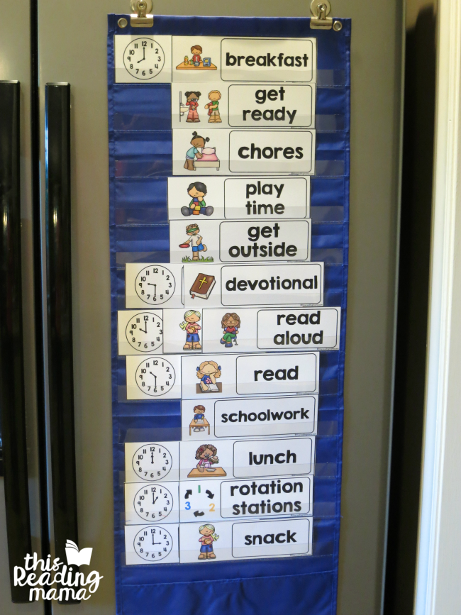 displaying visual summer schedule in pocket chart