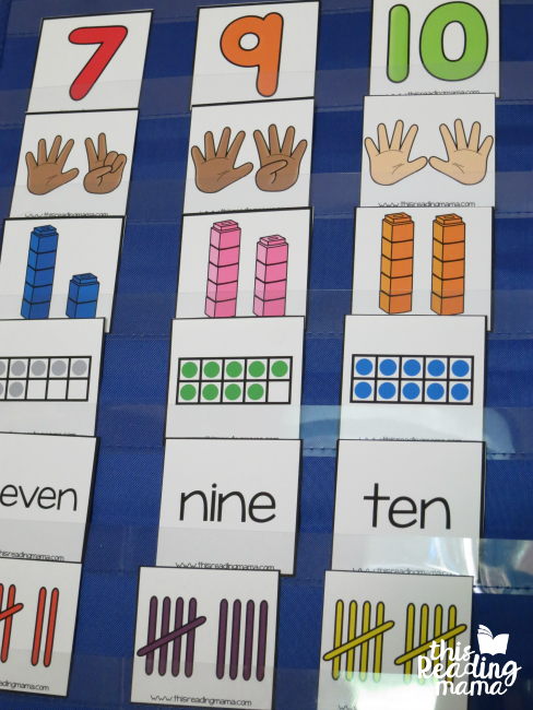 number sorting cards - sorting in a pocket chart